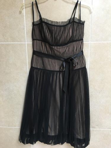 vestido bcbg negro con color nude con liston