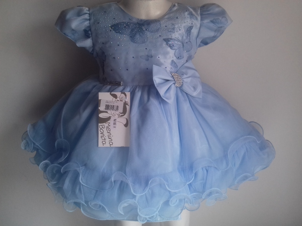 Vestido Bebê Azul Borboletas Princesa Realeza Festa Luxo - R  125 6976768ce022