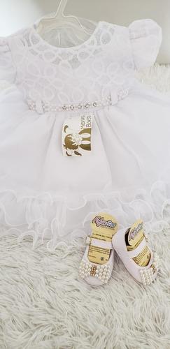 vestido bebê batizado+sapato+faixa