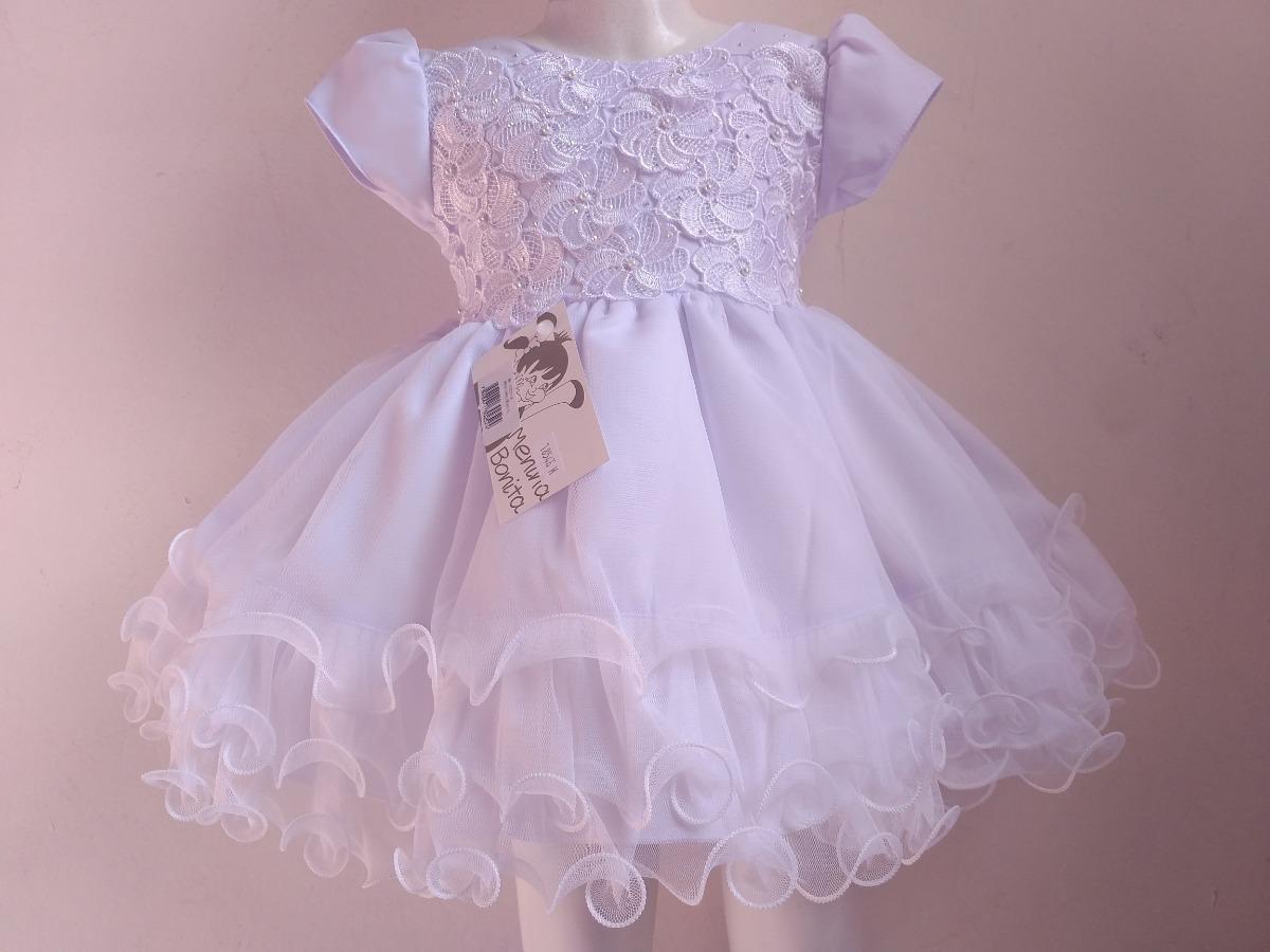 d7cd68740 Vestido Bebê Branco Batizado, Casamento Menina Bonita - R$ 125,00 em ...