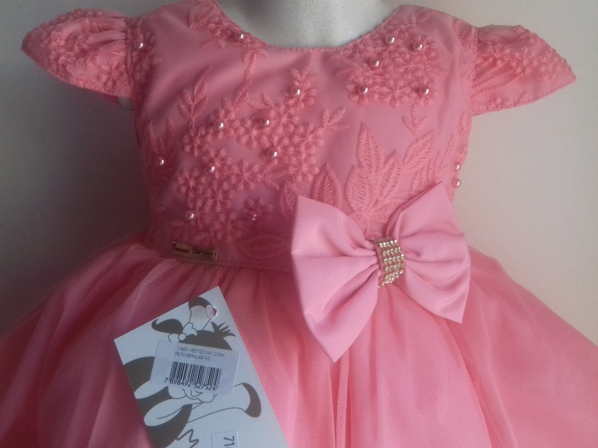 13feccf16 vestido bebê coral pérolas menina bonita luxo festa princesa. Carregando  zoom.
