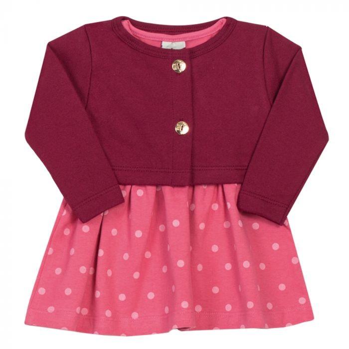 Vestido Bebê Em Cotton Estampado Rosa Com Bolero Bordô - R  35 1750e5c82e4