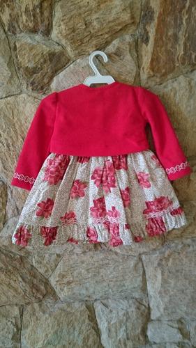 vestido bebê festa com bolero vermelho ou rosa p m g