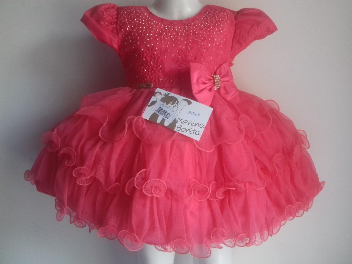 Vestido Bebê Goiaba Luxo Festa Menina Bonita Natal - R  125 27ccec4b98f3