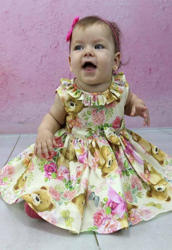 vestido bebê menina festa estampa de ursinho