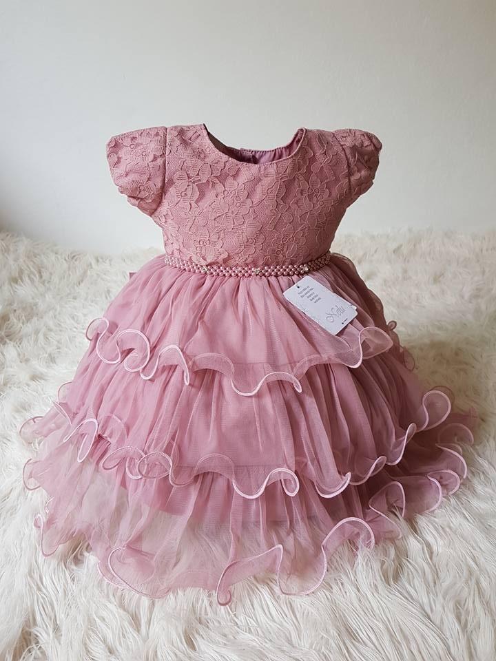 vestido bebê princesa festa com renda e bordado. Carregando zoom. de0ddd0c5365
