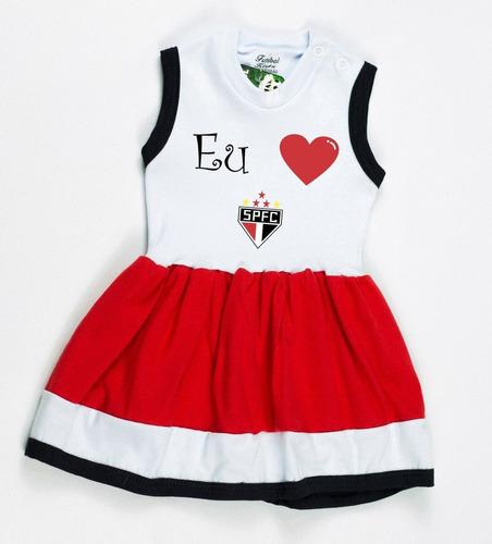vestido bebê time são paulo tricolor menina 0 à 18 meses