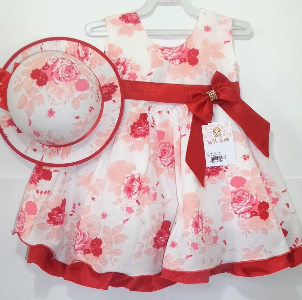 vestido bebê vermelho florido verão com chapéu promoção. Carregando zoom. 7fee634cf52