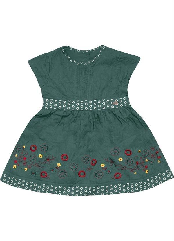 57e7c946a9 vestido bebe bordado cor verde com calcinha lilica ripilica. Carregando  zoom.