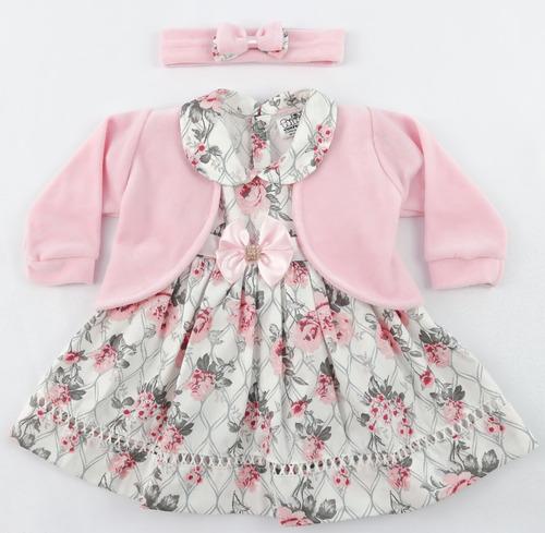 vestido bebe menina c/ bolero e tiara 100% algodão