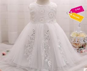 Vestido Bebe Niña Fiesta Bautizo Blanco Lentejuelas