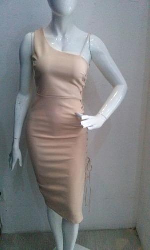 vestido beige agujeta