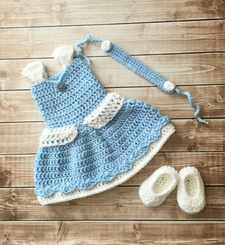 vestido bella durmiente aurora tejido a crochet envio gratis