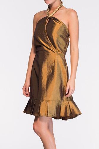vestido belle & bei lady like em tafetá dourado- sob medidas