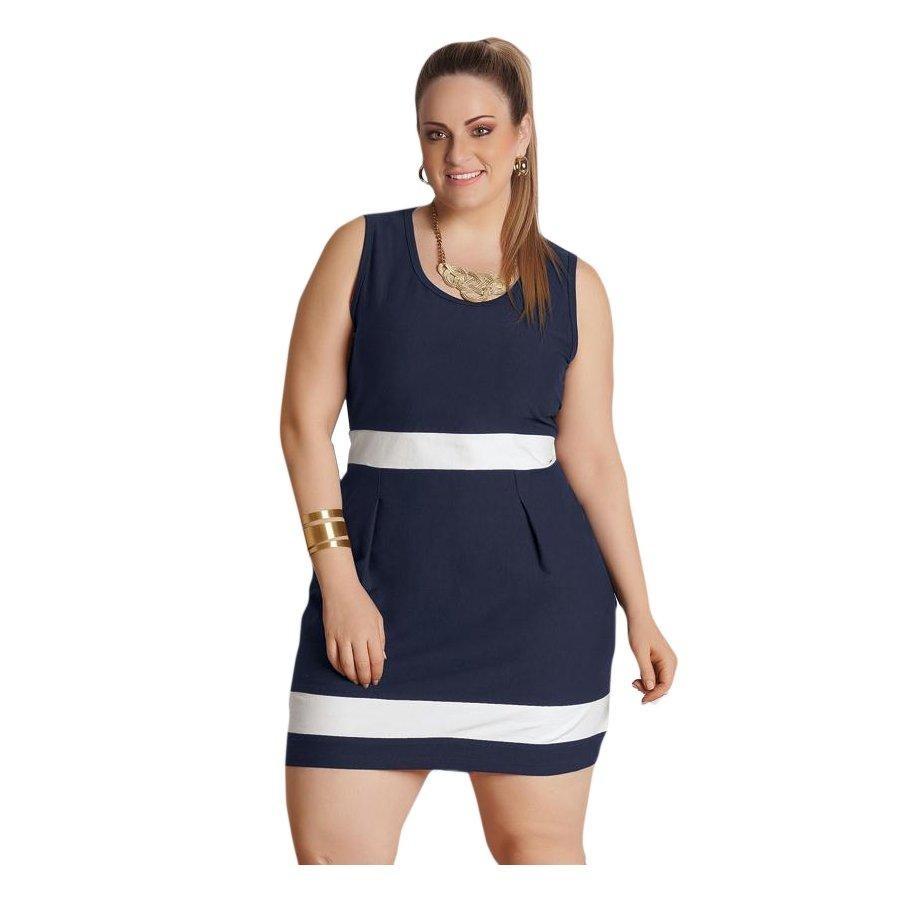 vestido bicolor azul marinho e branco quintess plus size. Carregando zoom. 7347199d59b