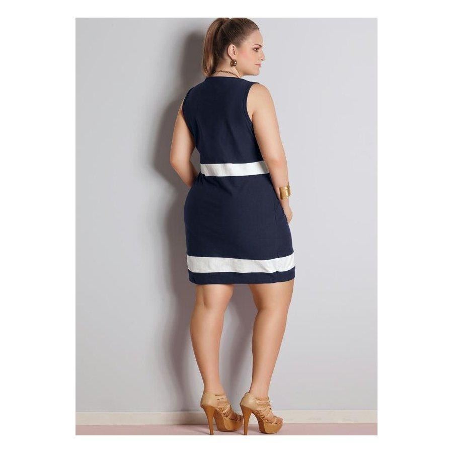 7af8cfbd9 vestido bicolor azul marinho e branco quintess plus size. Carregando zoom.