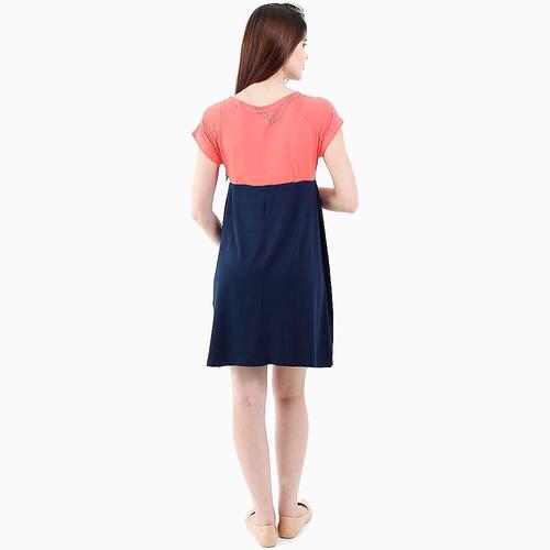 vestido bicolor viscolycra básico manga curta tem gente