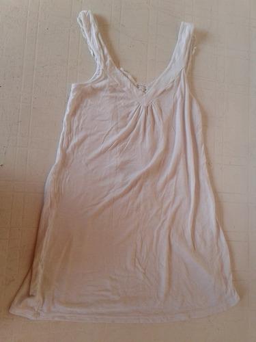 vestido blanco algodon y lycra tejido espalda talle m