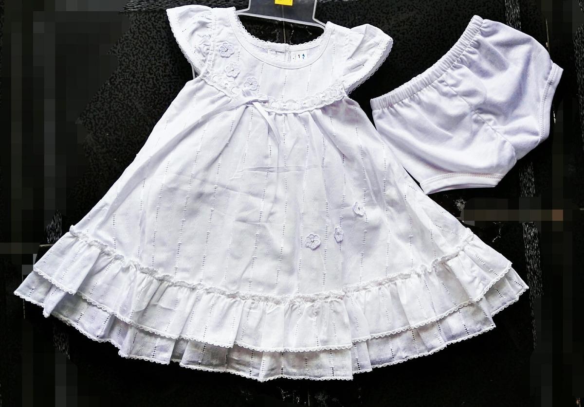 Vestido Blanco Bautizo Bordado Hilo Niña Fiesta Princes Bebé ...