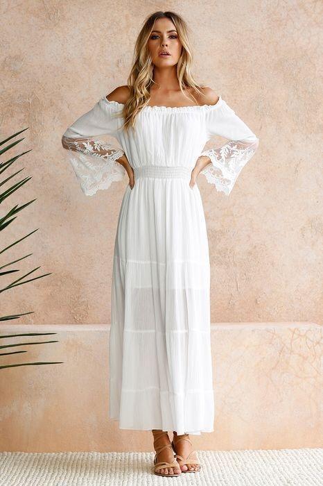 6452cab55 Vestido Blanco Bohemio Para Mujeres. -   492.47 en Mercado Libre