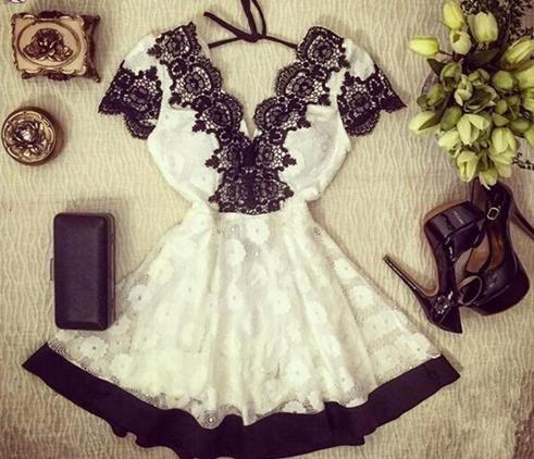 vestido blanco con negro encajes verano