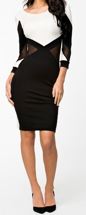 Modelos de vestidos negro con blanco