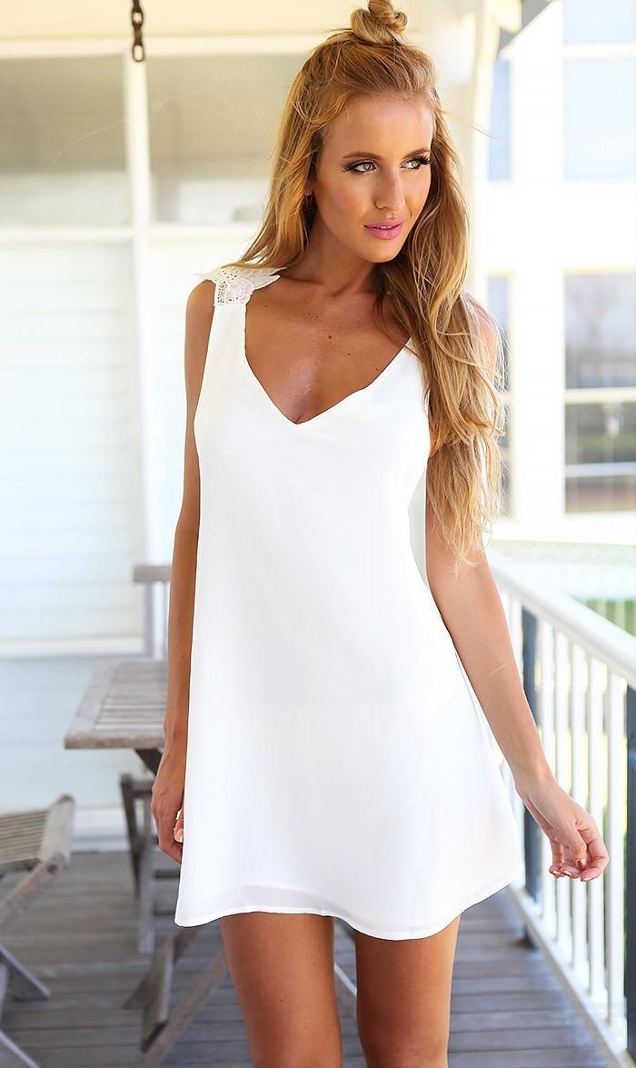 d86f686971 vestido blanco corto de gasa sin espalda tirantes de encaje. Cargando zoom.