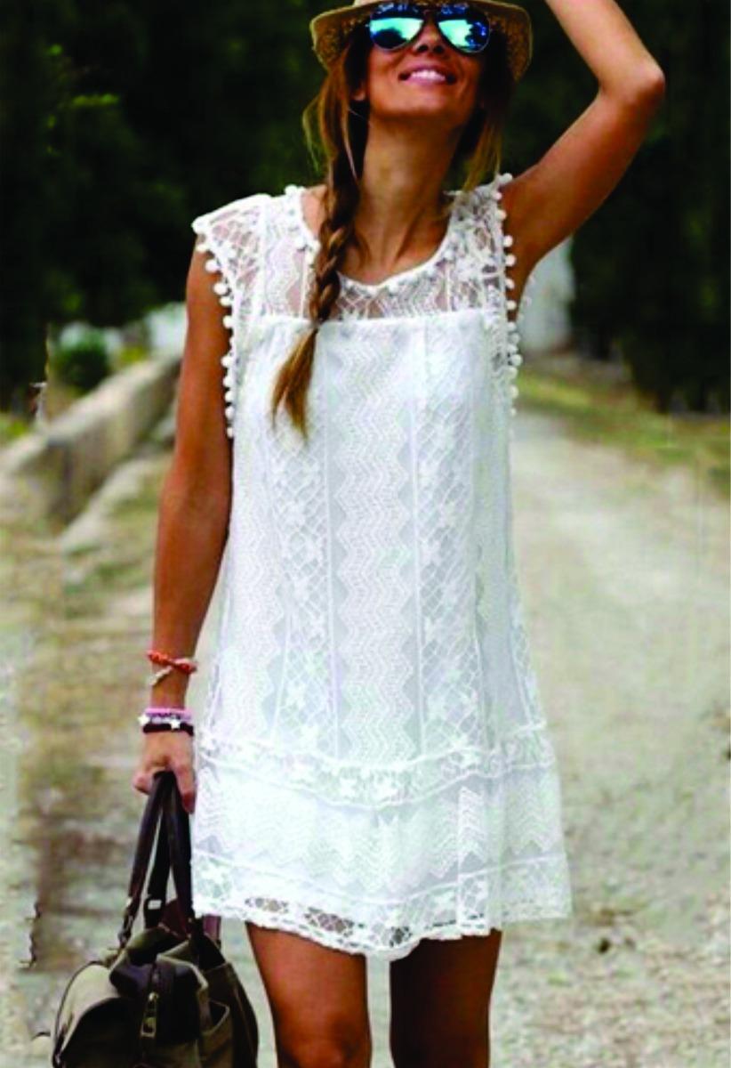 Vestido blanco corto con encaje mercadolibre