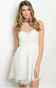 Vestidos Blancos Cortos Encaje De Cóctel De Mujer En