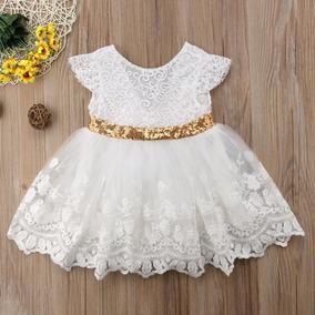 Vestido Blanco De Gala Para Niña Moño Dorado Bordado Hermoso
