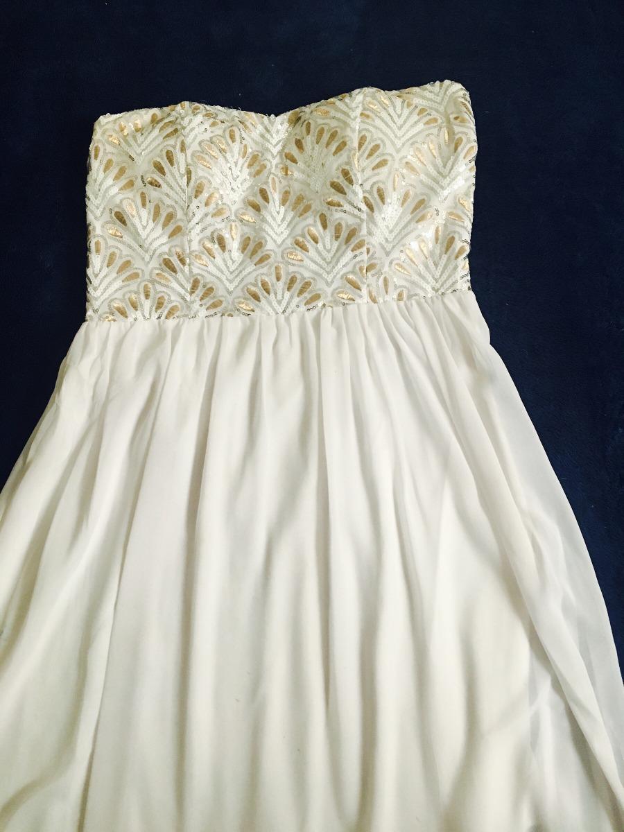 Vestido Blanco Dorado Strapples Talla L 35000