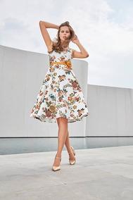 Vestido Blanco Floral Ivonne Mediano Petite 10 Nuevo