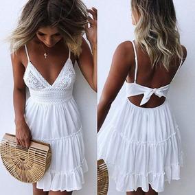 comprar popular 93f58 63c77 Vestido Blanco Importado Corto Verano Playa Casual Fiesta °°