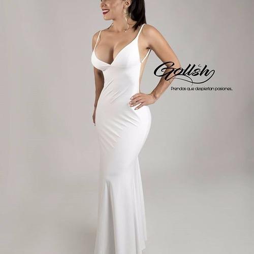 vestido blanco largo de dama de moda escote en la espalda