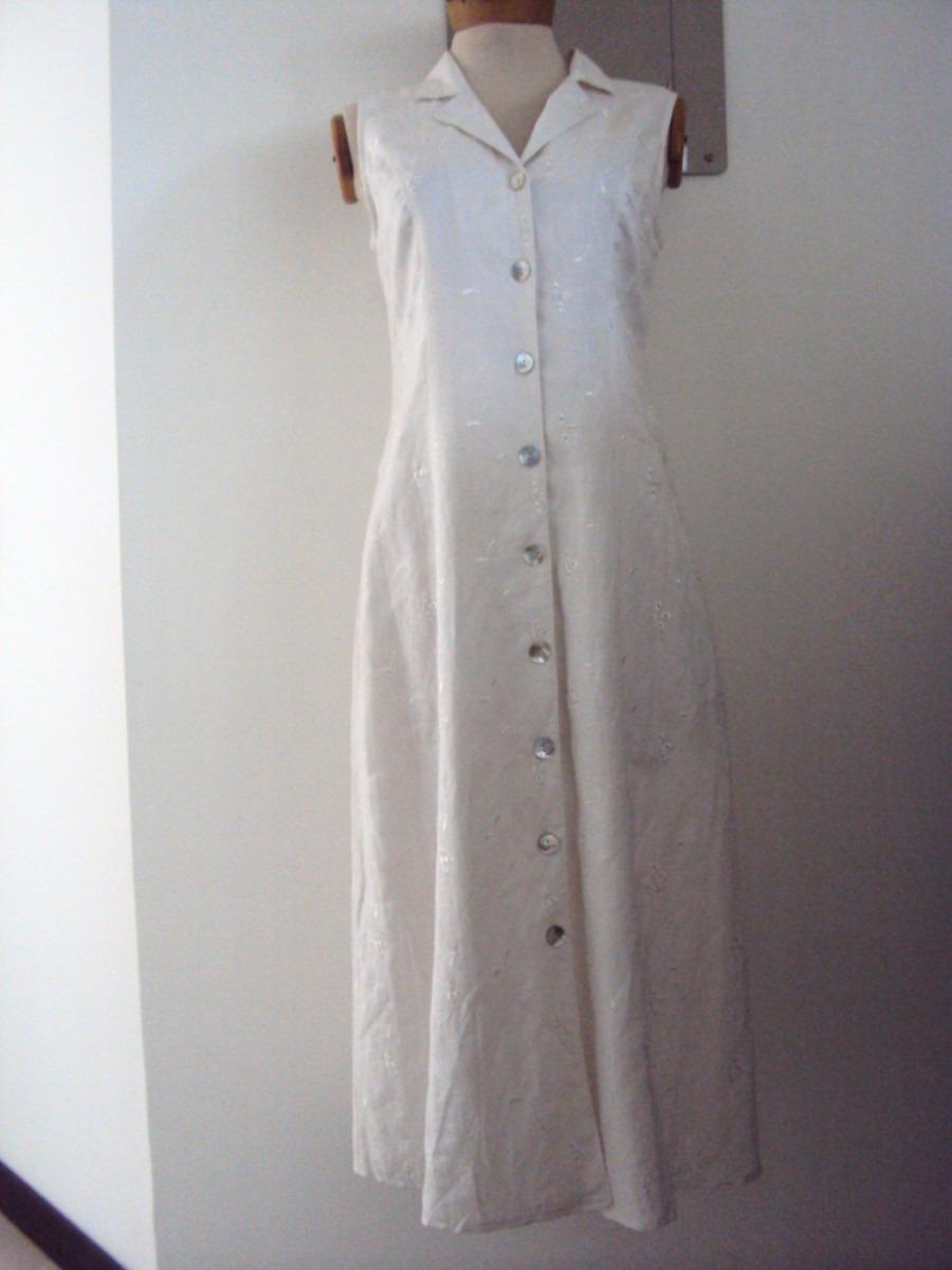 a0dc6c91bd29c Vestido Blanco Largo En Lino Bordado -   99.000 en Mercado Libre