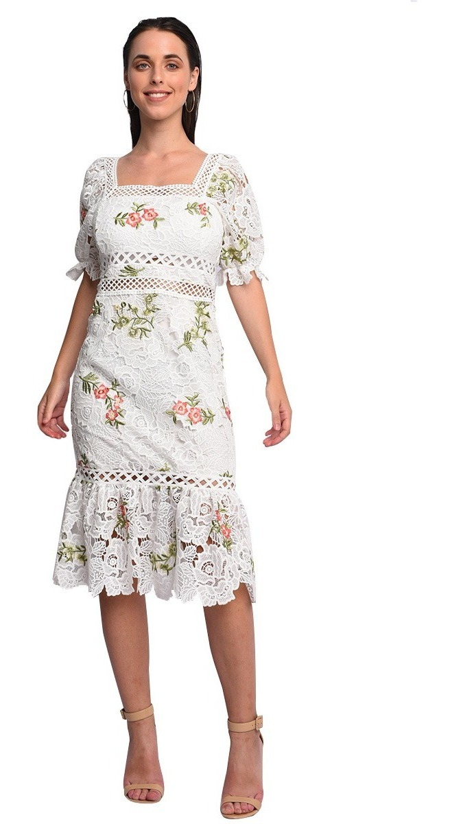 venta en línea profesional comprar Vestido Blanco Midi De Escote Cuadrado Estampado De Flores