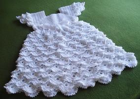 7e7adee3698f Vestido Blanco Nena Tejido A Crochet En Hilo Perlé