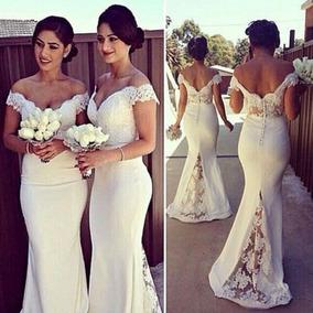 16cd644fbf Vestido Blanco Novia Civil Sirena Matrimonio Jolie Robe