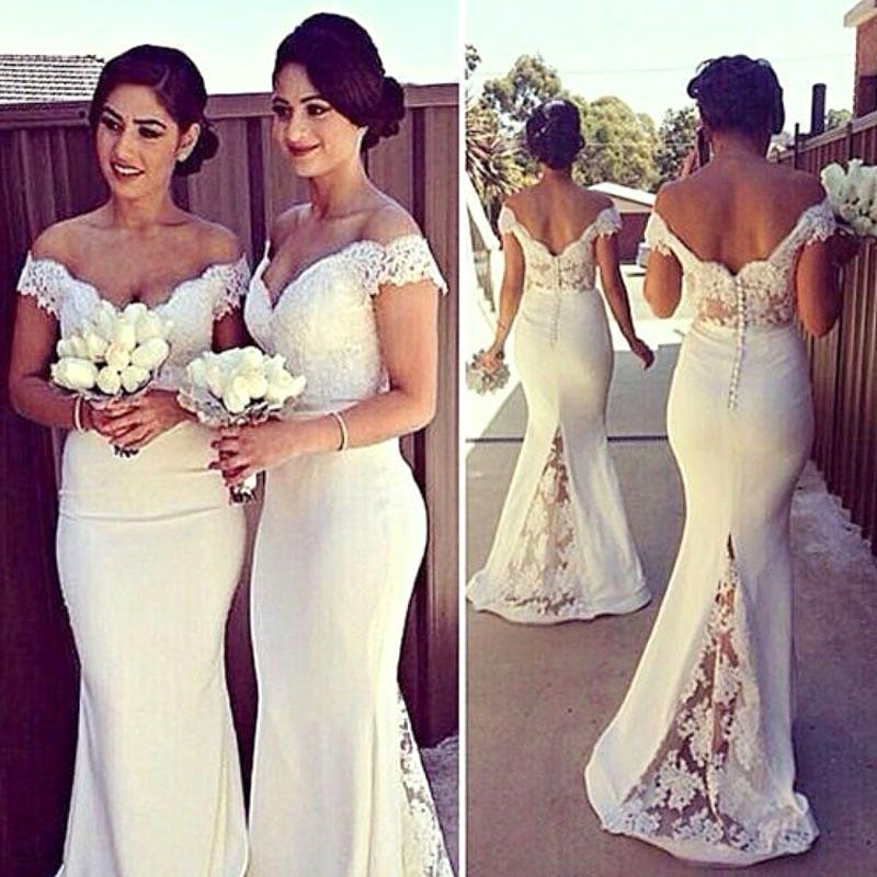 salida online última colección ahorrar Vestido Blanco Novia Civil Sirena Matrimonio Jolie Robe
