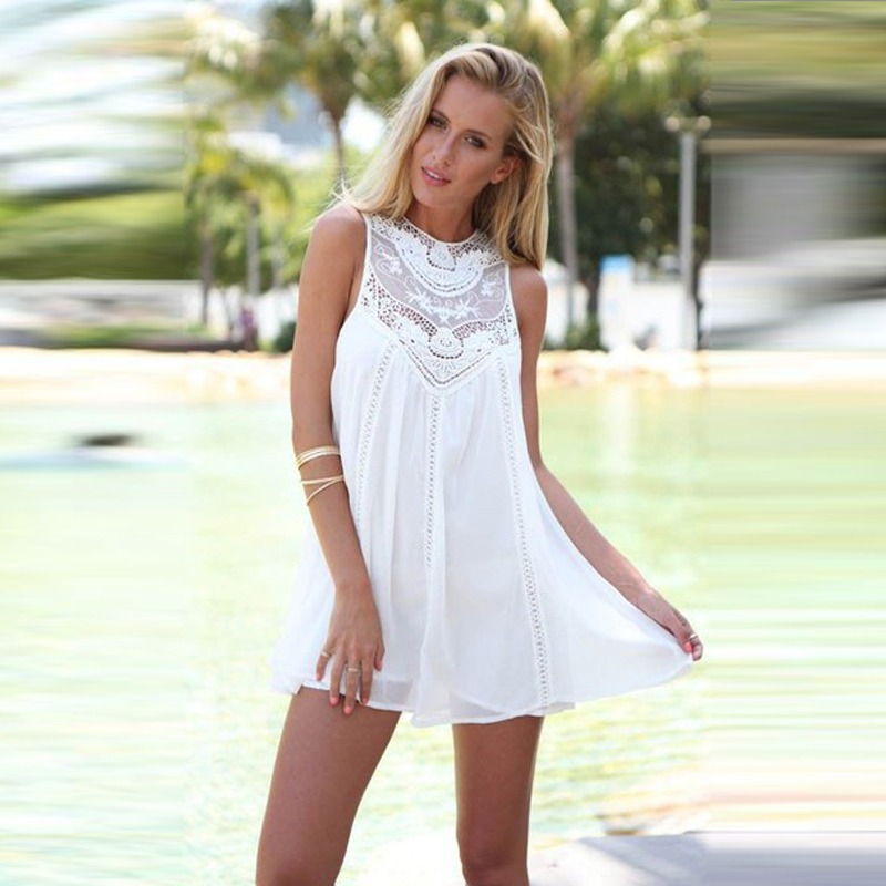 8d5c0b54c vestido blanco playa encaje mujer talla m. Cargando zoom.