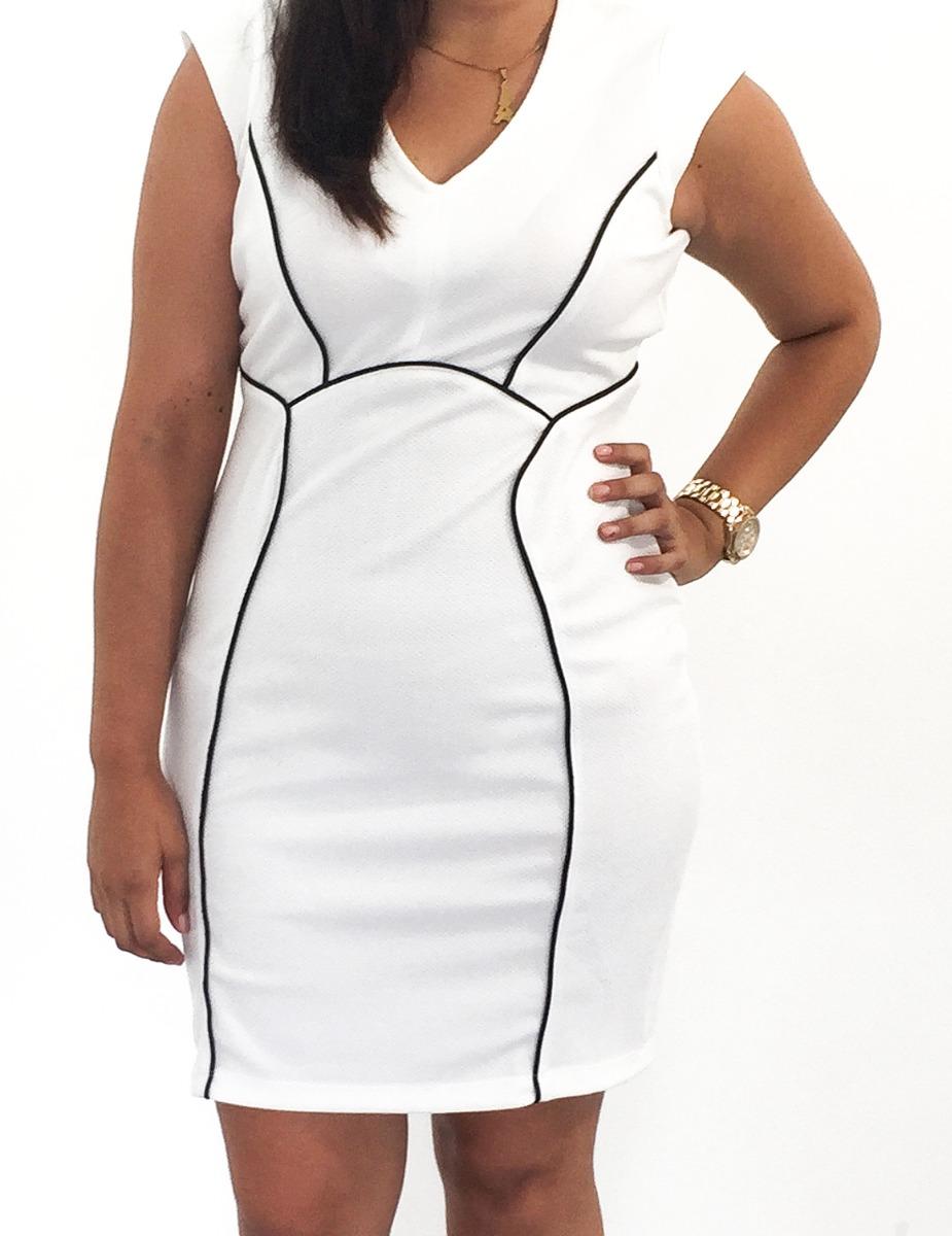 00182c416 Vestido Blanco Recto Sin Manga Con Tiras Negras -   750.00 en ...