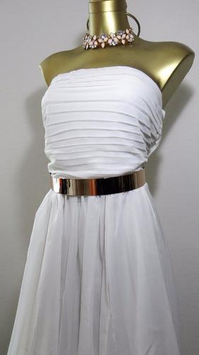vestido blanco strapless largo.envio gratis