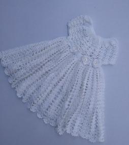 Vestido Blanco Tejido A Mano Para Bautizo