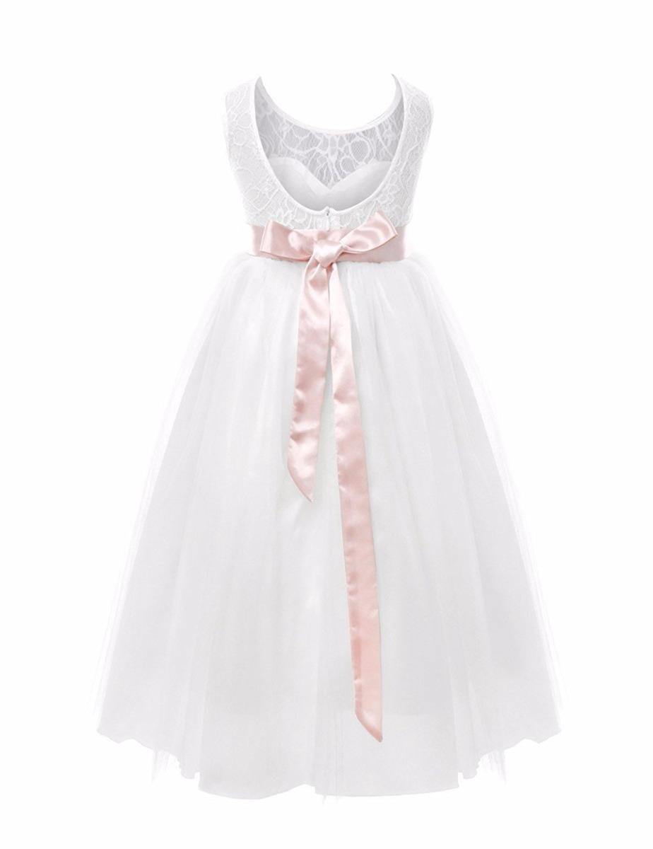 658c2e265 Vestido Blanco Tul Lazo Rosa Comunion Cortejo Bautismo -   1.099