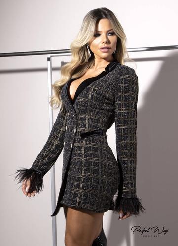 vestido blazer xadrez com botões preto perfect way