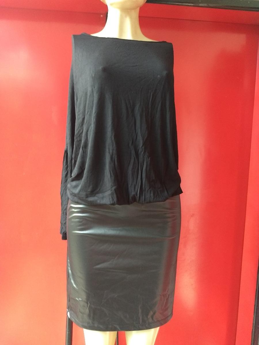 5b031d1f97 Vestido Blusa Preta Saia Regulável Couro Sintético - G   Gg - R  89 ...