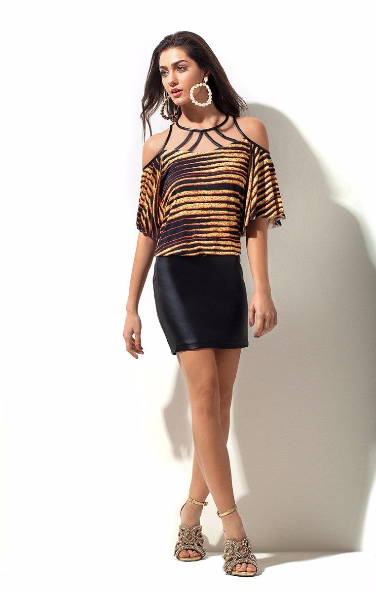 ec78eb88e Vestido Bluse Estampado Morena Rosa Ref:105477 - R$ 299,90 em ...