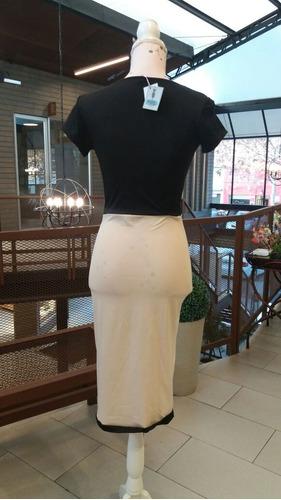 vestido bodycon beige, negro fiesta oficina cocktail (00517)