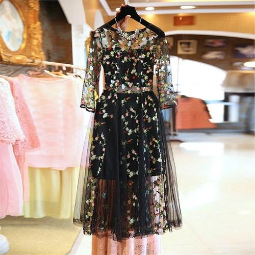 vestido bohemio elegante/casual con velo bordado con flores