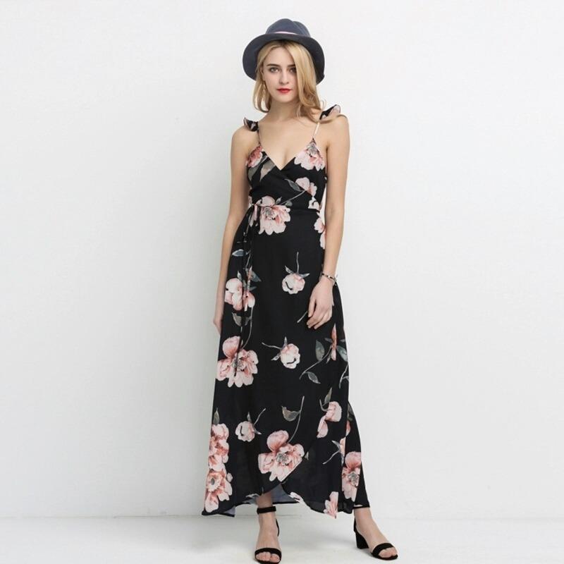 96e3726de7 vestido boho longo preto florido. Carregando zoom.